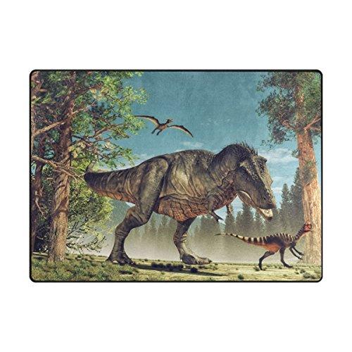 MyDaily-Lustiger 3-D-Dinosaurier-Vorleger, ca. 122 x 162 cm, für Wohnzimmer, Schlafzimmer, Küche usw., dekorativ bedruckter Teppich aus leichtem Schaumstoff , Polyester, multi, 4'10