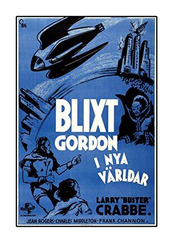 Blixt Gordon-Flash Gordon 's Trip to Mars 1938-Dutch A3Poster Vintage Film Buster Percy Crabbe Jean Rogers Charles Middleton Film Bild Bunte Foto Old Retro Print