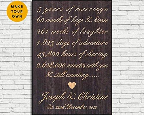 Wood Plaque 5Jahre Jahrestag Geschenk für Frauen aus rustikalem Holz Schild 5. Hochzeitstag Geschenk für Männer Geschenk für Ehemann Geschenk für ihn Panel Effekt Schild 20,3x 29,2cm Zoll