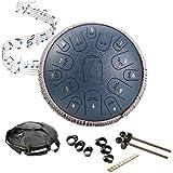 AGUDOU Steel Tongue Drum Instrument Handpan Drum,15 Tons 14 Pouces Tongue Tambour Zen Tambour à Languette avec Baguettes Sac