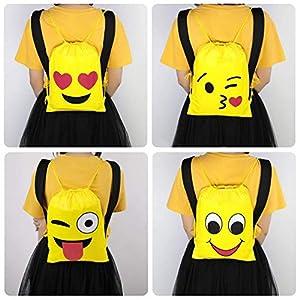 Emoji Mochilas Petate 4 Pack Cordón Mochila Bolsas Infantiles para niños y niñas Deporte Gimnasio Backpack Regalos…