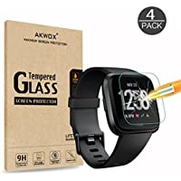 AKWOX [4 Unidades] Protector de Pantalla para Fitbit Versa, [9H Dureza] Cristal Vidrio Templado para Fitbit Versa Cristal Templado