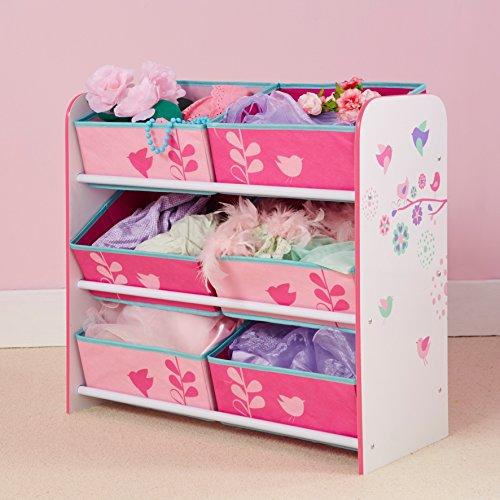 Hello Home 471FLW - Unidad de almacenamiento para niños con diseño de flores y pájaros, color blanco y rosa