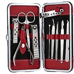 Anself 10 en 1 Set de cortaúñas de acero inoxidable de manicura, pedicura, oído recoger ,uñas tijeras con caja de cuero