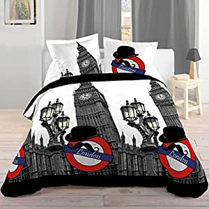 lovely casa hp17144001 bigben housse de couette 140 x 200 cm taie 63 x 63 cm polyester. Black Bedroom Furniture Sets. Home Design Ideas