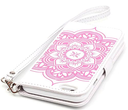Apple Iphone 6 (NOT FOR iPhone 6s plus 5.5) Hülle Leder Flip Wallet Cover Case, Nnopbeclik Folio PU Leather Blume Case Drucken Campanula Handytasche Schutz Kristall Glitzer Bookstyle Diamant Bling Han Weiß-Pink