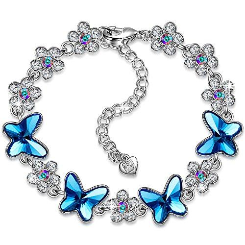PAULINE&MORGEN Freude am Frühling Armband für Damen mit SWAROVSKI Steinen Blauer Schmetterling (Armband Schmetterling)