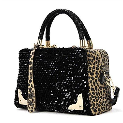 Patent-leopard (Kafe Damen Taschen Loveso Frauen Arbeiten Sequin Leopard Muster Schwarz Schultertasche Handtasche)