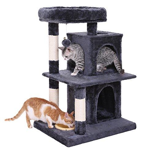 Feandrea albero per gatti multilivello con ciotola, pali rivestiti di sisal per graffiare, doppia cuccia, mobili per gatti, grigio fumo pct57g