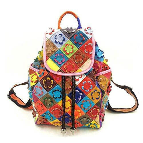 Damen casual Rind Leder Rucksack Umhängetasche Handtaschen Henkeltaschen Schultertasche Collage Gradient