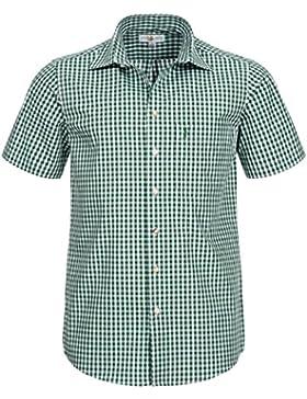 Almsach Kurzarm Trachtenhemd in Dunkelgrün