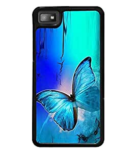 Fuson Premium 2D Back Case Cover Colourful Butterfly With Yellow Background Degined For Blackberry Z10