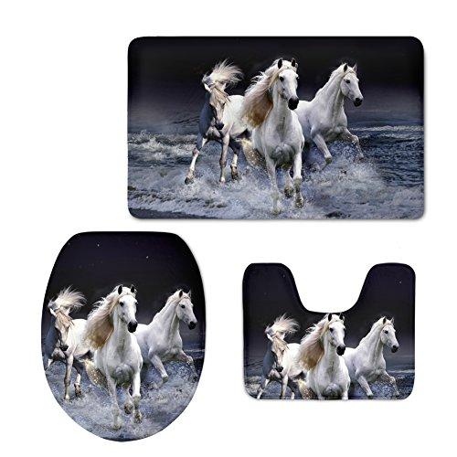 nopersonality mit Tier-Print mit WC-Deckel, Wasser-Absorption Teppich-Set, Pferd, M -