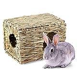 AUOKER, casetta per Erba, Naturale, Intrecciata a Mano, Pieghevole, Multifunzionale, per Piccoli Animali, per Conigli, criceti, scoiattoli, porcellini d'India