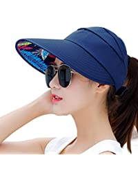 Sun Hats for Women HindaWi Wide Brim UV Protection Summer Beach Visor Cap 66793ea0896