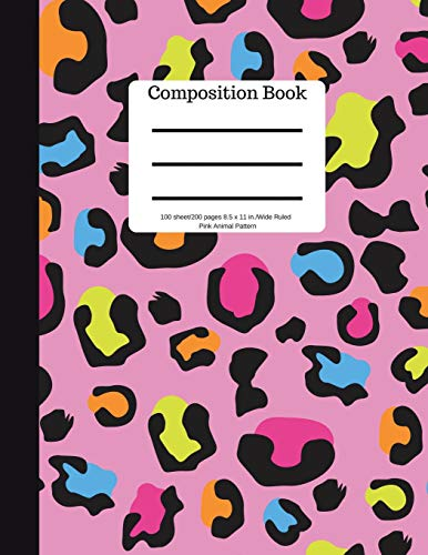 Composition Book 100 sheet/200 pages 8.5 x 11 in.-Wide Ruled- Blue Animal Patter: Safari Notebook for School Kids | Student Journal | Writing Composition Book | Soft Cover