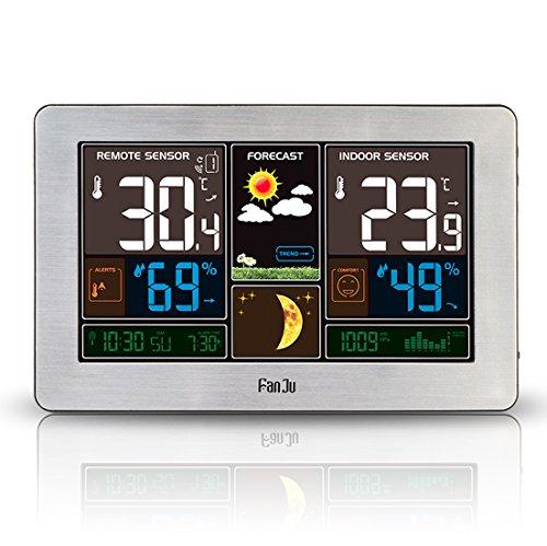 FanJu FJ3378S Stazione Meteo Wireless con Caricabatterie USB Porta / Indoor Temperatura Esterna e Umidità / Sveglia / MAX MIN Temperatura e Umidità / Fase Lunare