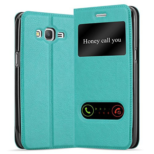 Cadorabo Hülle für Samsung Galaxy Grand Prime - Hülle in Mint TÜRKIS – Handyhülle im Standfunktion und 2 Fenstern (View Design) - Case Cover Schutzhülle Etui Tasche Book Klapp Style