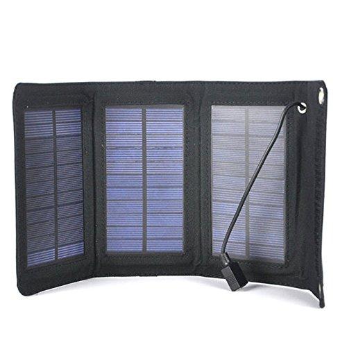 V faltbar Solar Ladegerät USB Solarpanel Bank Pack für Handy Schwarz Ladegerät tragbare Panel Bank (Tragbare Elektrische Generator)