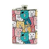 Jeansame personnalisé Flasque Mini Bouteille en acier inoxydable 226,8gram pour homme ou femme Cute Bears vintage Dessin animé