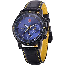Shark Mens SH346 Quartz Blue Dial Day/ Date/ Dual Time Zone Leather Wrist Watch Black/Yellow