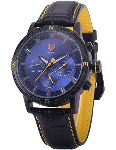 SHARK SH346-Orologio da polso uomo,Pelle,Sportivo Giorno/Data Display Blu Tondo Quadrante Analogico Quarzo,colore:Nero
