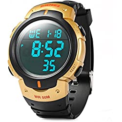 Leopard Shop Skmei 1068 LED Stopwatch Military Watch Alarm Multifunctional Water Resistant Golden
