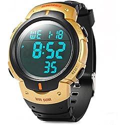 Leopard Shop Skmei 1068 LED Stopwatch Military Watch Alarm Multifunctional Water Resistant Golden