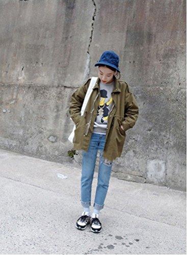 TGLOE Coréen Femmes De Plein Air Soleil Bob Loisir Et Mignon Toile Dôme Pêcheur Pots Bob Bleu A