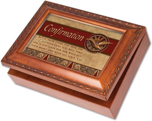 Cottage Garden Confirmation Woodgrain Music Box / Jewelry Box Plays How Great Thou Art by Cottage Garden (English Manual)