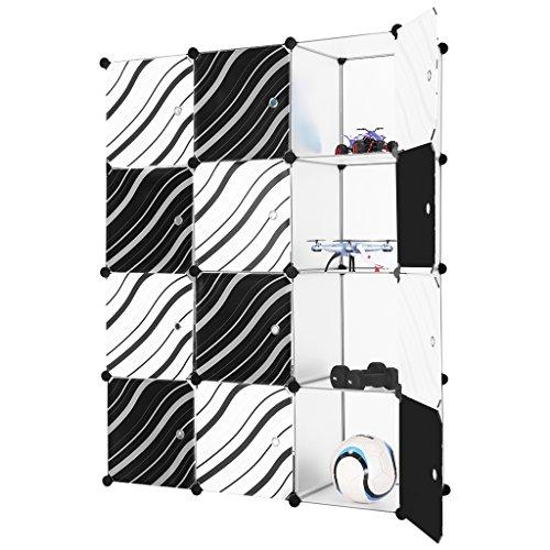 Finether-Armario Modular de 12 Cubos(Sistema de Almacenamiento, Escaparate de Estantes con Puertas de Rayas para el Hogar, Ropa, Zapatos, Juguetes,
