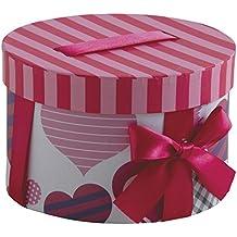 Caja de regalo redonda hecha de cartón con cinta y arco, ...