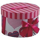 Runde Geschenkbox aus Pappe mit Schleife und Bogen, Herzmuster.