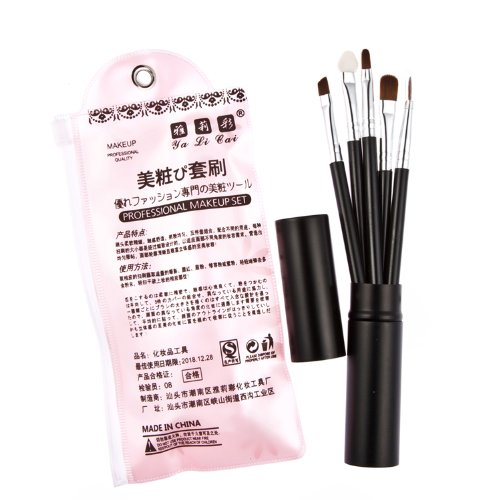 Davidsonne Lot de 5 outil de maquillage Brosse Kit de voyage Noir