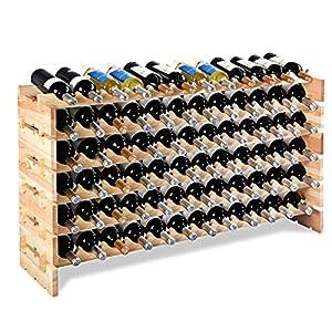 COSTWAY Weinregal Holz, Weinständer Flaschenregal 6 Höhe zur Auswahl, Holzregal stabil, Weinschrank Flaschenständer (für…