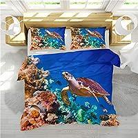 Stillshine Duvet Cover Sets Children Girl Creative 3D Ocean World Dolphin Whale Jellyfish Coral Print Bedding set Turtle Duvet Cover + Pillowcase (Turtle, Single bed 135x200 cm)