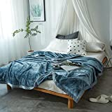 Flannel blanket Plush Nap Lazy blanket Bed Couch Sheet Warm Extra silky Lightweight Faux fur-D (grey) 270x230cm(106x91inch)