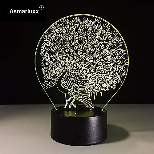 Gwgdjk Nachtlampe Dekoration Atmosphäre Lava Lampe 7 Farbwechsel Led Illusion Nachtlicht Pfau Prächtige Schwanz Kinder Geschenk