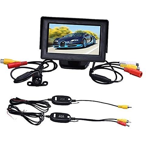 Kaiki 4.3 Zoll TFT LCD Monitor + Auto-Rückseiten-Rückseiten-Unterstützungs-Kamera-Parken-drahtlose (Din-radio-install Kit)