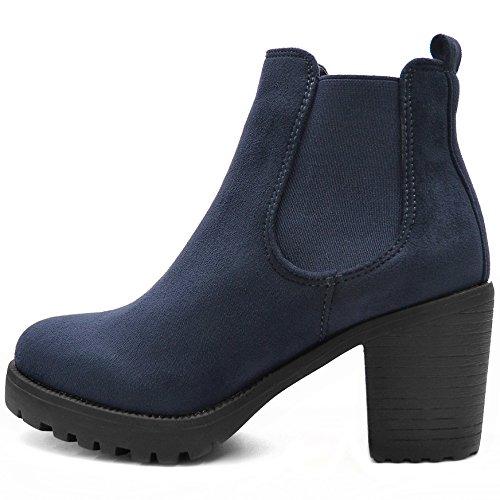FLY 4 Chelsea Boots Plateau Stiefeletten in vielen Farben und Mustern (39, Navy) -
