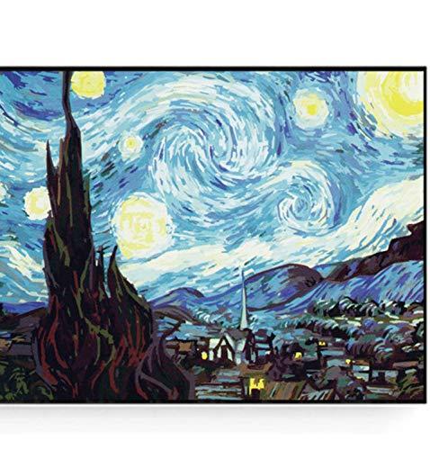 laonieshangmao Ölgemälde Nach Zahlen Auf Der Ganzen Welt Berühmt Auf Der Leinwand Die Café-Terrasse Auf Dem Platz Du Forum Arles Bei Naughty Von Vincent Van Gogh 40X50 Kein Rahmen -