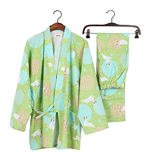 Frauen im japanischen Stil lange Ärmel Roben Baumwolle Kimono Pyjamas Anzug Morgenmantel Set-Green - Baumwolle Lange Robe