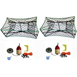 """2-Pack Of KUFA Galvanized Foldable Crab Tra & Accessory Kit (100' Lead CoreRope, Clipper,Harness,Bait Case & 11"""" Red/White Float) (S33+CAQ1)x2"""