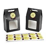 """Syndecho 24 x Süßigkeiten-Box, Keksschachtel, Bäckerei-Box, 15,5 x 9,5 x 5,5 cm + 24 x """"handmade""""-Aufkleber mit Sichtfenster für Partyleckereien, zur Aufbewahrung Schwarz"""