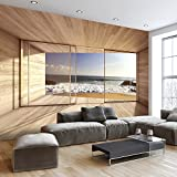 murando - Fototapete Meer Fenster 250x175 cm - Vlies Tapete - Moderne Wanddeko - Design Tapete - Wandtapete - Wand Dekoration - Meer See Natur Landschaft Fenster 3D Holz c-A-0084-a-d