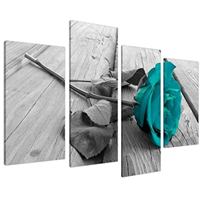 Black White Floral Flower Teal Canvas Wall Art XL 130cm Pictures 4037 produced by Wallfillers - quick delivery from UK.