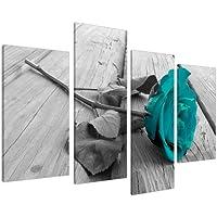 Wallfillers Cuadros en Lienzo Arte floral en blanco y negro. Flor verde azulada. Lienzo artístico para la pared XL 130cm Imágenes 4037