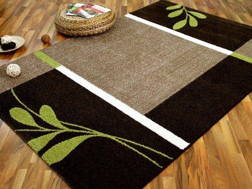 Designer Teppich Softstar Country Grün Braun Blumen in 3 Größen - Grün Und Braun-teppiche
