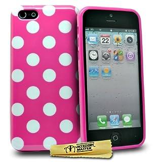 Accessory Master polka dot Design Silikon Gel Schutzhülle für Apple iPhone 5C rosa/weiß