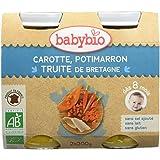 Babybio Pots Carotte des Landes Potimarron/Truite 400 g - Lot de 6